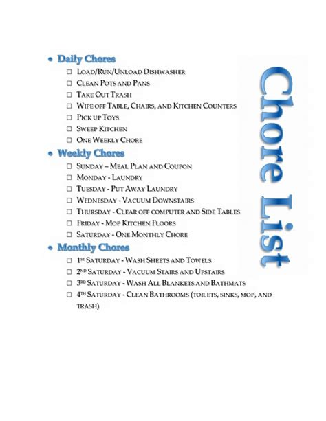 house chore list chores list for families images