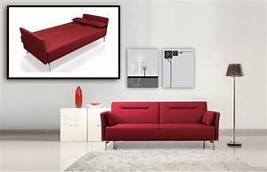 Divani casa davenport modern red fabric single sofa for Modern red fabric sectional sofa