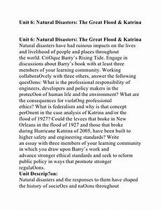 Unit 6 natural disasters the great flood and katrina