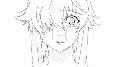 Yuno Crying Gasai Lineart Deviantart