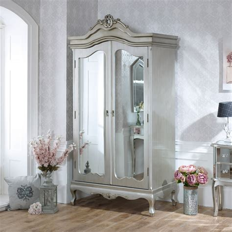 Mirrored Wardrobe by Mirrored Wardrobe Painted Distressed Silver Hanging
