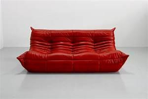 canape togo vintage en cuir rouge par michel ducaroy pour With vente canapé cuir en ligne
