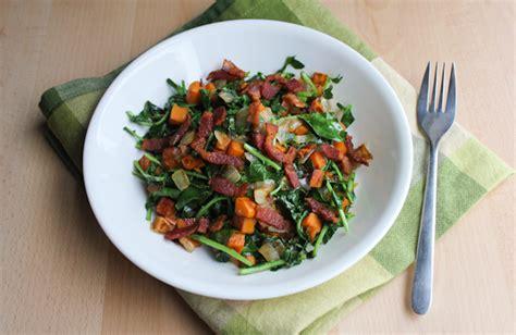 creasy greens  sweet potatoes  bacon keeprecipes
