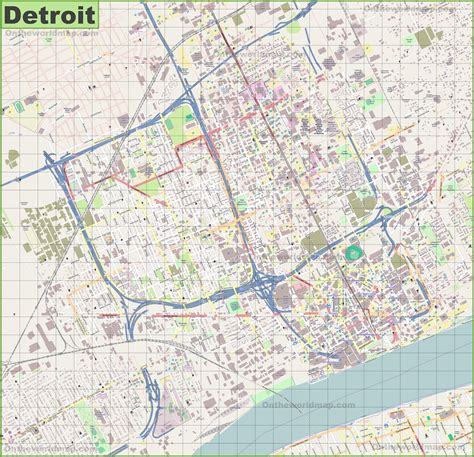 large detailed map  detroit