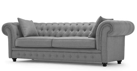 canap chesterfield branagh 3 seater grey chesterfield sofa made com
