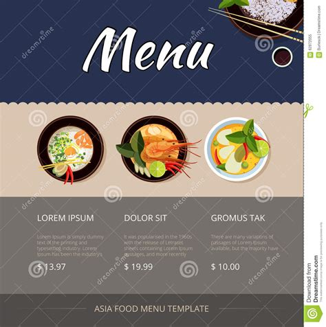 menu cuisine food menu vector template design stock vector illustration of seafood cooking 62872055