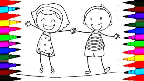school girl  boy coloring pages  happy kids drawing