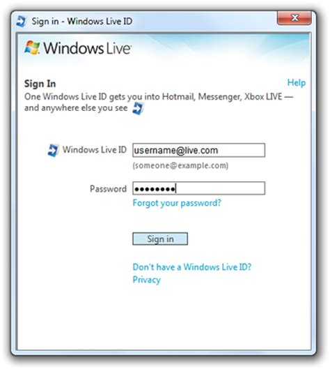 sign in windows live id