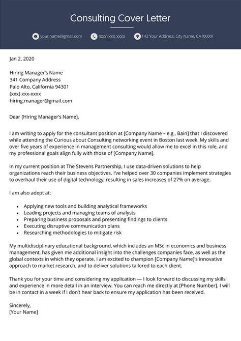 consulting cover letter professional  resume genius