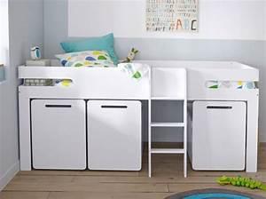 Lit Mi Hauteur Avec Rangement : lit mezzanine bas inspiration mezzanine lit sur lev ~ Premium-room.com Idées de Décoration
