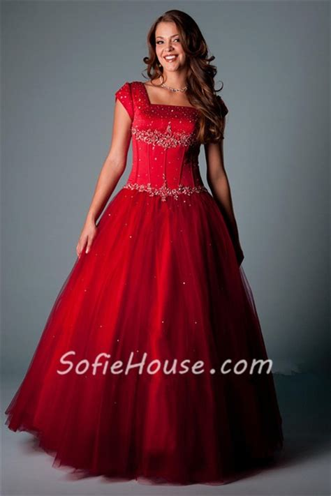 modest ball gown square neck cap sleeve red satin tulle