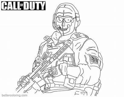 Duty Call Coloring Pages Ghost Lineart Ghosts