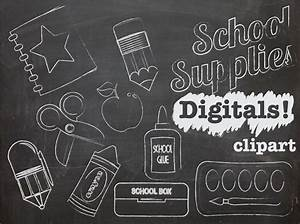 Chalk Clip art School Supplies INSTANT DOWNLOAD by DigiBonBons