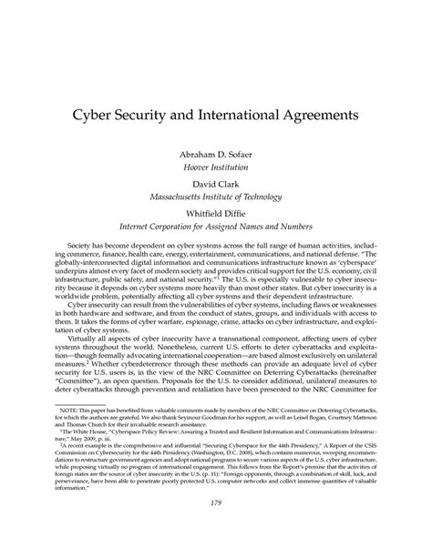 Cyber Security and International Agreements--Abraham D