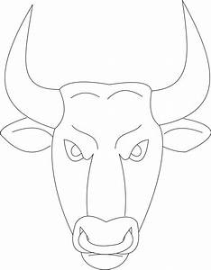 Bull mask printable coloring page for kids for Bull mask template