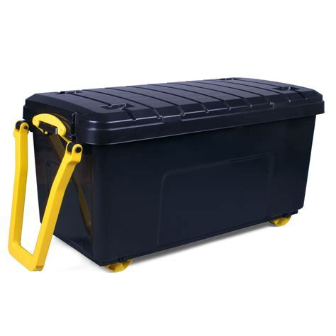 Really Useful Black Large 160L Plastic Wheeled trunk