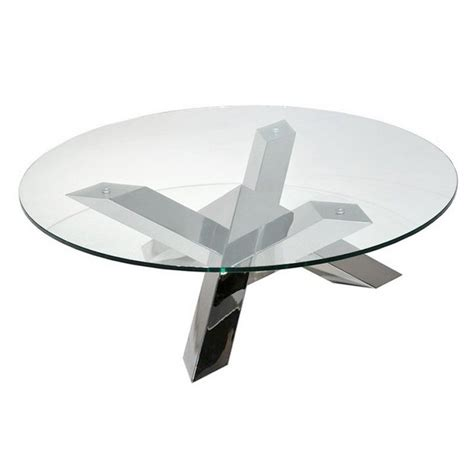 plateau de bureau en verre sur mesure table basse pied en inox tess ronde transparente