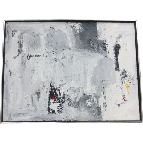 Black And White Canvas Painting Abstract by Vintage Black White Abstract Painting From Antique