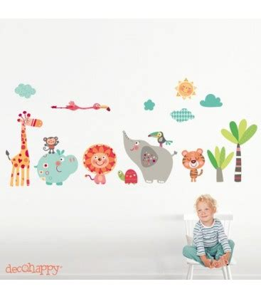 Vinilo infantil de tela animales selva