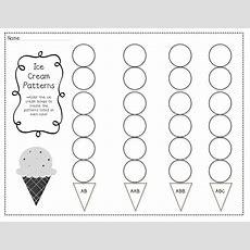 Kindergarten Pattern Worksheets  Teacher Idea Factory Ice Cream Patterns + 123 Come Find Me