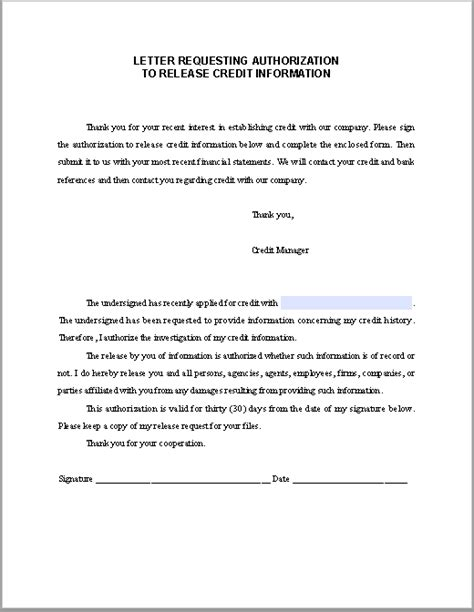 letter requesting authorization  release credit