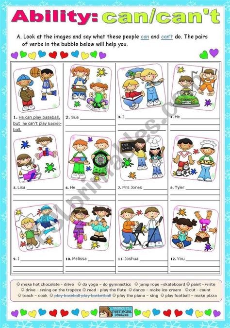ability worksheet english activities