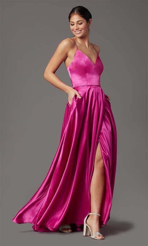 Corset-Back Long Satin Pink Prom Dress - PromGirl