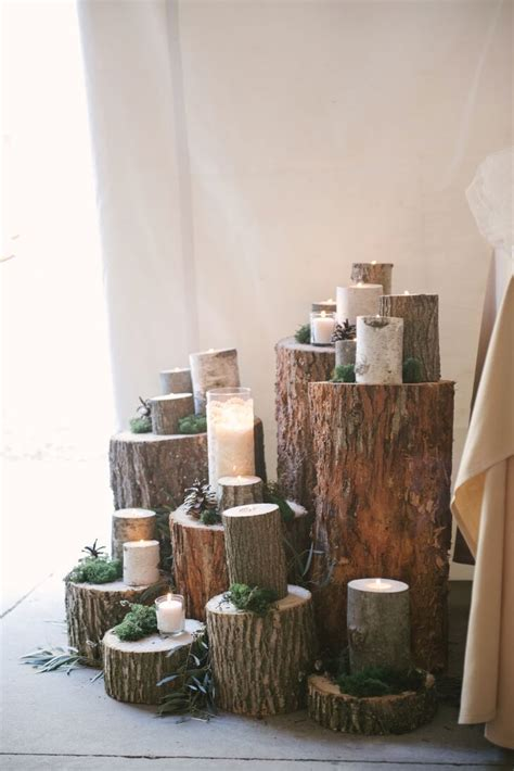 tree stump centerpiece  candles