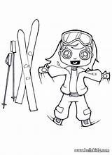 Coloring Ski Skis Drawing Skiing Winter Sport Hellokids Sketch Template Popular sketch template