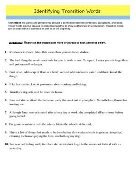 transition words fourth grade english worksheets
