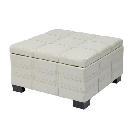cream storage ottoman with tray eco leather storage ottoman with tray in cream dtr3030s cmbd