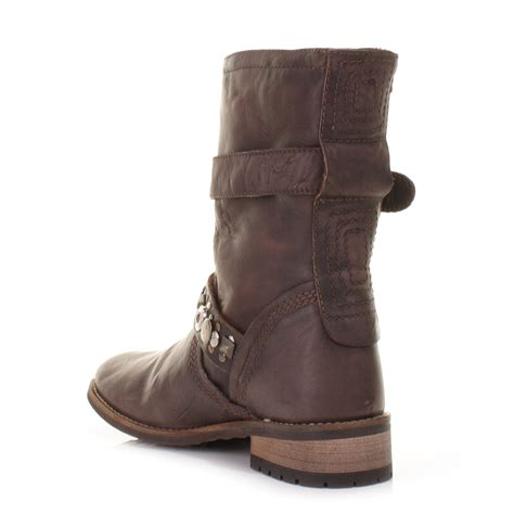 womens brown leather biker boots womens brown feud london crescent leather biker ankle