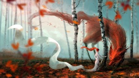 fox spirit fantasy abstract background wallpapers