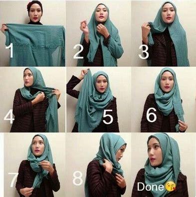 gambar  memakai hijab pashmina lilit gaya