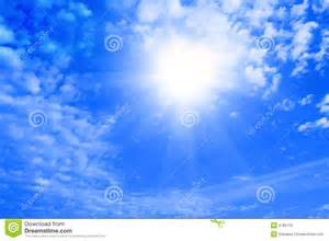 Blue Sky Clouds and Sun