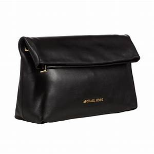Michael michael kors Daria Fold Over Leather Clutch Bag in ...