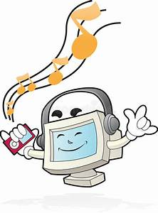 Computer Mascot - Listen To The Beat Stock Illustration ...