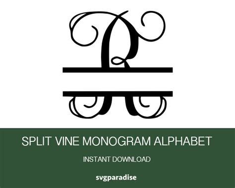 split vine monogram svg split vine monogram font alphabet