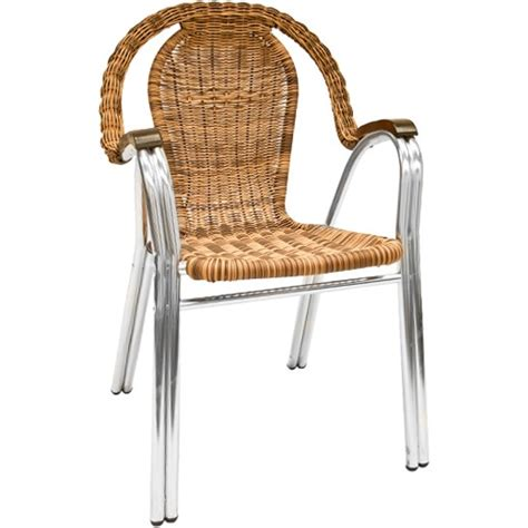 aluminum and wicker patio chair with high back