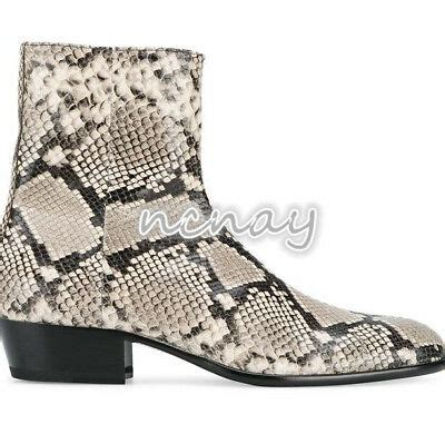 Men's Chelsea Boots Snakeskin Leather Cowboy Combat Pointy ...