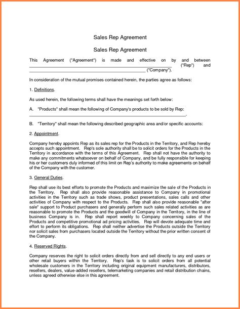 sales representative agreement template purchase