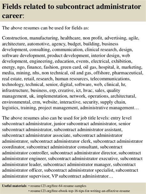 top 8 subcontract administrator resume sles