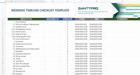 wedding timeline checklist template excel template