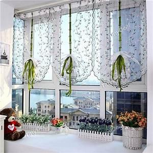 Fenster Gardinen Küche : 1stk 100x80cm gestickte blumen raffrollos hebe t ll fenster vorhang sheer f r badezimmer k che ~ Yasmunasinghe.com Haus und Dekorationen