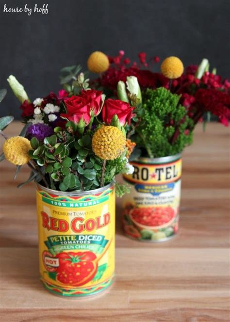flowers  tin cans flower arrangements simple mexican