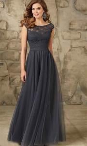 dark gray long lace bridesmaid dresses uk ksp401 uk prom With long grey dress for wedding