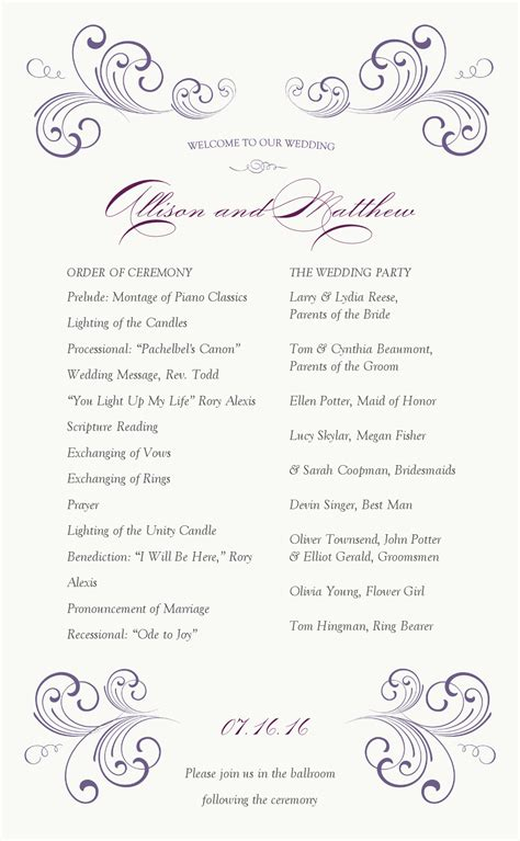 showing pic gallery   page wedding program templates