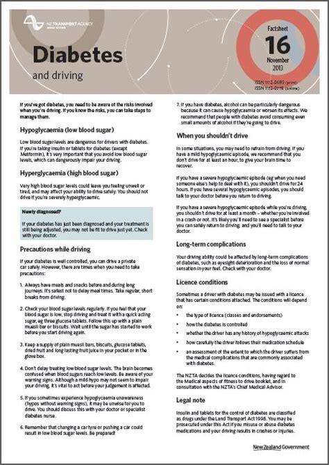 driving with diabetes health navigator nz