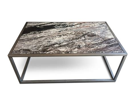 furniture grey granite top coffee table with grey metal