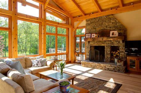 Timber Frame Great Room-modern-family Room-new York